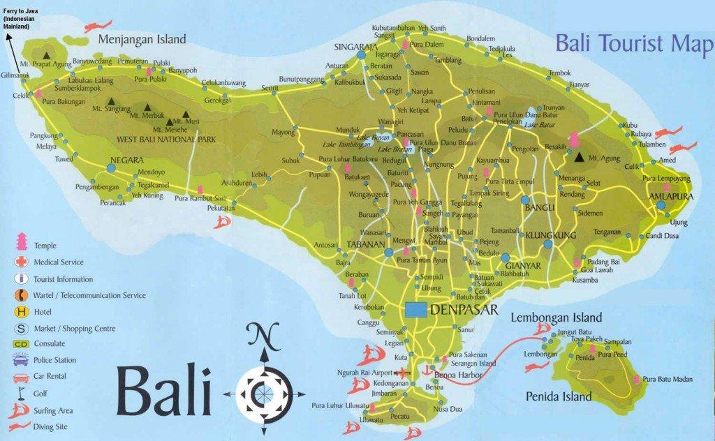 En fauteuil roulant de l'autre coté de la terre:  Bali dans carnets de voyage carte-de-bali